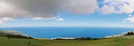 panoramic view on saint leu, west coast of the r�union island, indian ocean.