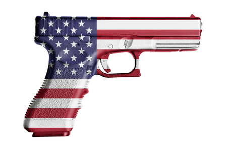 side view of handgun painted with american flagon pure white background
