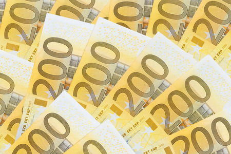 many two hundreds eurosbanknotes Imagens
