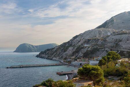 Old quarries of pumice stone on Monte Pilato, Lipari aeolian island, Italy Stock Photo