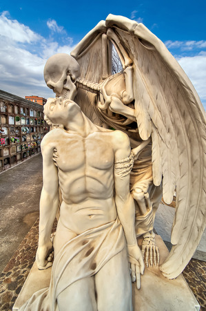 crypt: Beautiful sculpture at the cemetery of Poblenou, Barcelona, Spain Stock Photo