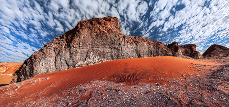 Rock formations and sand dune in the desert of Death Valley Valle de la Muerte San Pedro de Atacama Chile.