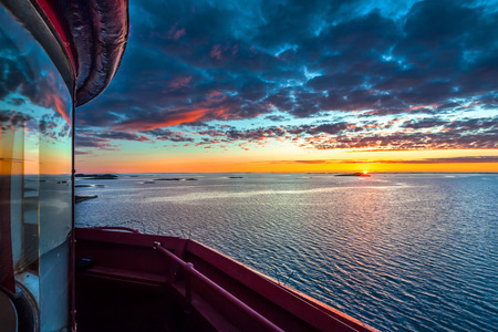 View at sunset from the top of Kjeungskjaer lighthouse rland Norway