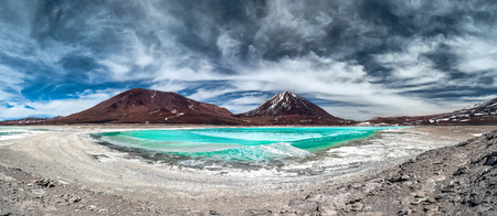 lipez: Green Lagoon Laguna Verde is a highly concentrated salt lake located in the southwest of the Eduardo Avaroa Andean Fauna National Park at the foot of the Licancabur volcano Sur Lipez Province Bolivia.  Stock Photo