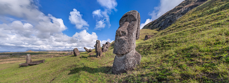 Moais at the quarry of Rano Raraku Easter Island Chile.