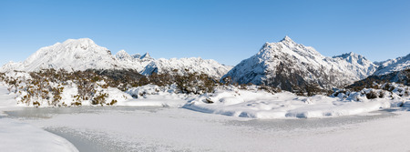 Panoramic view along the Routeburn track, Mount Aspiring NP, New Zealand.