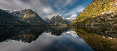 Panoramic view of Doubtful Sound, New Zealand.