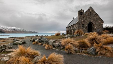 Church of the good shepherd, Lake Tekapo, New Zealand. Stok Fotoğraf