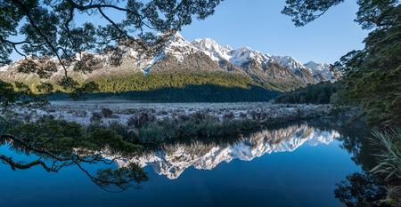 Panoramic of Mirror Lakes, New Zealand.