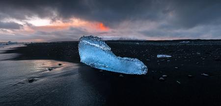 Panoramic view of ice fragment on the black beach of Jkulsrln, NP Vatnajokull, Iceland.