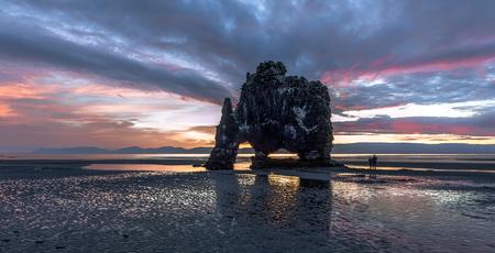 Hvitserkur. A 15 m. high basalt stack along the eastern shore of the Vatnsnes peninsula, in the northwest of Iceland. Stok Fotoğraf