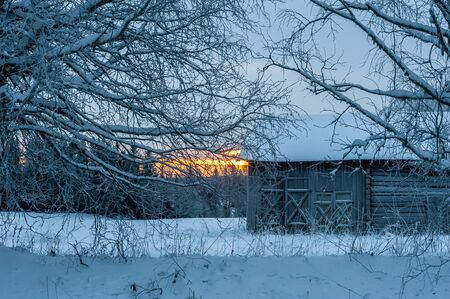 Old barn in winter, Sweden