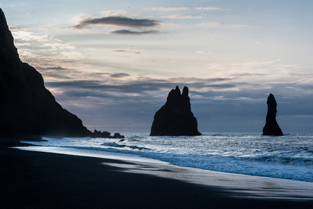 Reynisdrangar. Basalt seastacks situated under the mountain Reynisfjall near the village Vik i Myrdal, southern Iceland.