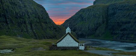 Panoramic view of Saksun church, Faroe Islands Stok Fotoğraf