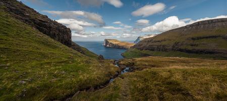Panoramic view over the bay of Tjornuvik seen from Tjornuviksskard on the hike from Saksun to Tjornuvik, Faroe Islands.
