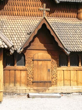 stave: Entrance to the Heddal Stave Church near Notodden in Norway