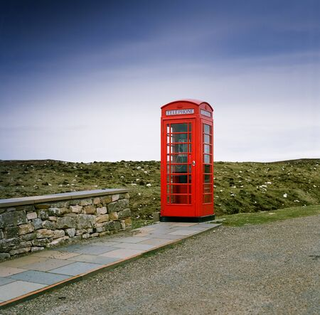 Old stylish phone box. Picture taken in 1999 near Durness in NW-Scotland. Scan from a 6x6 negative photo