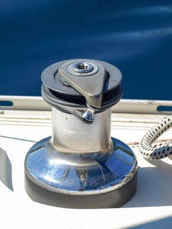 winch: Winch on a sailing boat Stock Photo