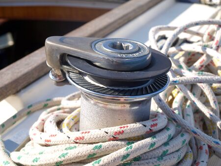 winch: Rope laid around a winch on a sailing boat