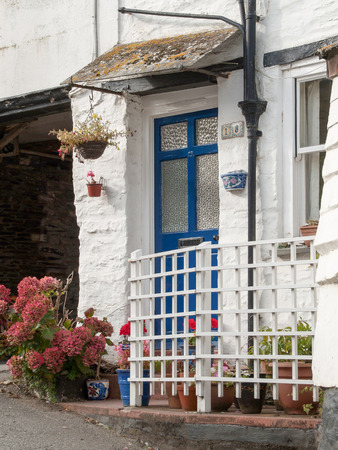 isaac: Blue door with white gate in Port Isaac in Cornwall