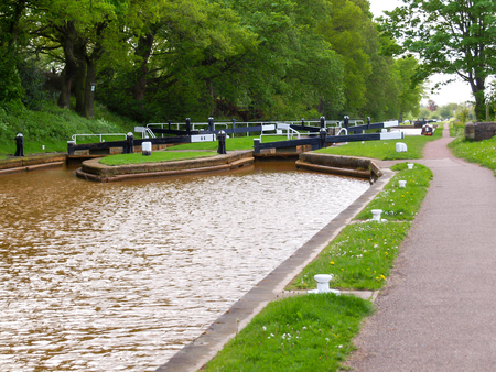mersey: Red Bull Lock - dual lock on the Trent and Mersey canal