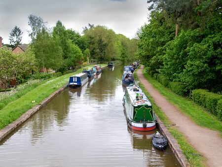 mooring: Narrowboats mooring on the Shropshire Union Canal in Market Drayton.