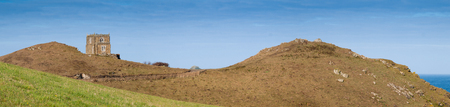 quin: Panoramic view with Doyden Castle near Port Quin in north Cornwall.