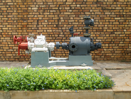 antiquated: Antiquated steam powered pump formerly used in a sugar refinery in Mauritius