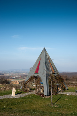 pyramidal: Pyramidal resting place on a clear winters day in the Rosalia region in Austria. Stock Photo