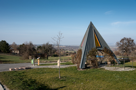 pyramidal: Pyramidal resting place at the cycle trail in the spa town of Bad Sauerbrunn in Austria.