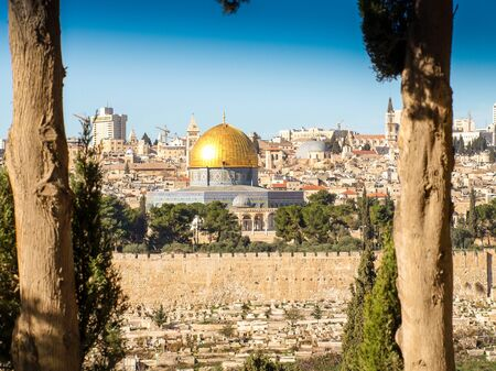 dome of the rock: Dome of the rock in Jerusalem. View from the mount of olives.
