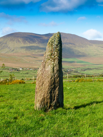 stoneage: Menhir on a green meadow with mount Brandon and a blue sky in the backgound on the Dingle Peninsula in Ireland
