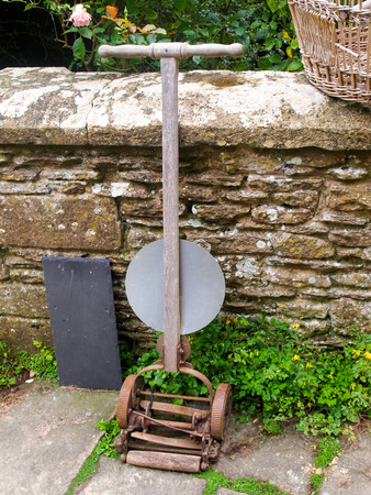 midlands: Old fashioned lawnmower, found in a tudor house somewhere in the Midlands, UK.