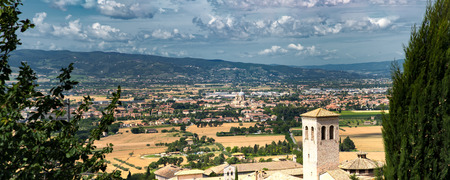 Angeli: Panoramic view from Assisi to Santa Maria degli Angeli in the Umbria region in Italy