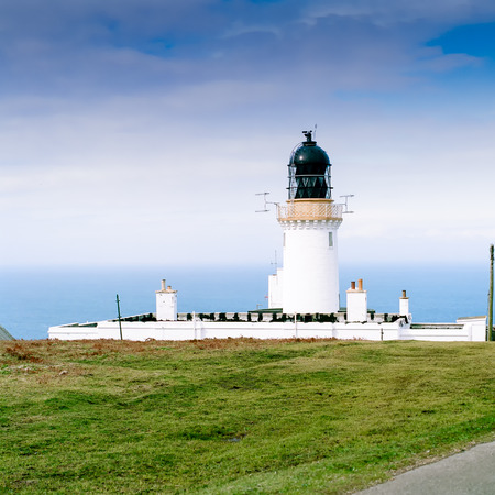 Noss Head Lighthouse near Wick in Scotland. Picture taken in may 1999. Scan from a 6x6 negativ. Stock Photo