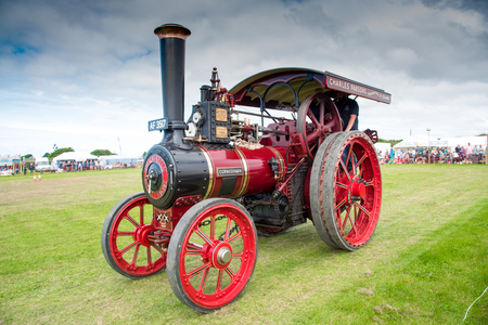 traction engine: ST MAWGAN, CORNWALL - SEPTEMBER 17, 2016: Vintage traction steam engine named the Cornishman at the  St Mawgan Steam and Vintage Rally.