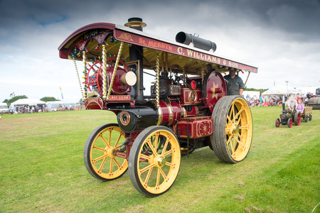 traction engine: ST MAWGAN, CORNWALL - SEPTEMBER 17, 2016: Vintage traction steam engine named Lady Sylvia at the  St Mawgan Steam and Vintage Rally.
