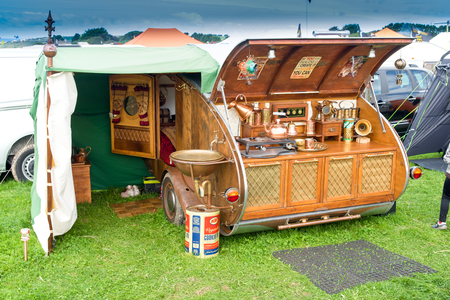 steam rally: St Mawgan, CORNWALL, UK - September 17, 2016: Vintage styled caravan at the St Mawgan Steam and Vintage Rally. Editorial