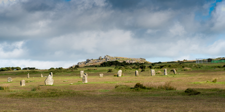 bodmin: Hurlers Stone Circle with Stowes Hill and the Cheesewring near Minions in Bodmin Moor in Cornwall.