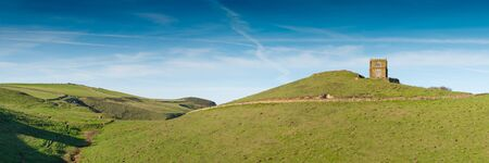 quin: Panoramic view with Doyden Castle near Port Quin in north Cornwall. Picture taken from a public footpath.