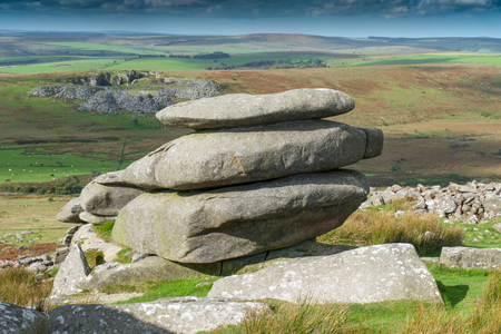 natural formation: The Cheeswring, a natural rock formation on Stowes Hill in the Bodmin Moor near Minions in Cornwall. Stock Photo