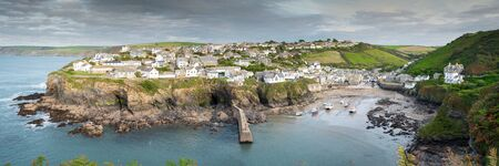 Panoramic view of the picturesque fishing village Port Isaac in northern Cornwall.