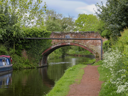 Bridge with towpath in Penkridge on the Staffordshire and Worcestershire canal 版權商用圖片