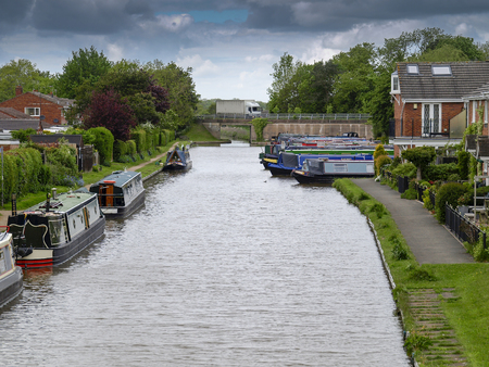 Narrowboats mooring on the Shropshire Union Canal in Market Drayton.