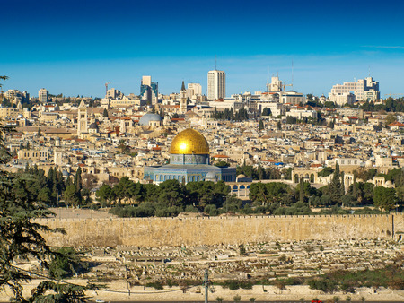 Dome of the Rock with the old town of Jerusalem, Israel. View from the Mount of Olives.