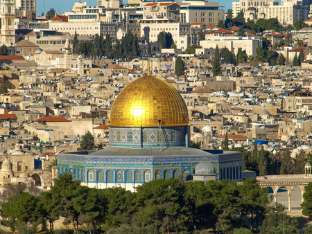 Dome of the Rock in Jerusalem, Israel. View from the Mount of Olives.