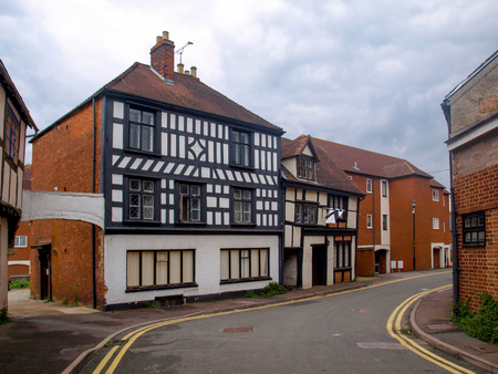 View of old tudor houses in Tewkesbury in Gloucestershire, Great Britain.