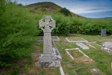 Celtic Cross in the churchyard of Saint Enodoc Church east of Daymer Bay and near the Village of Trebetherick in Cornwall