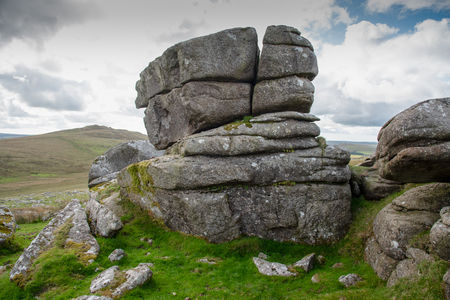 Showery Tor is a natural rock formation on Bodmin Moor in Cornwall, UK. Stock Photo