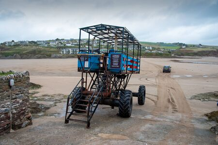 Sea tractor, used as a ferry through the shallow waters at hight tide between Burgh Island and the mainland when the connencting causeway is submerged.